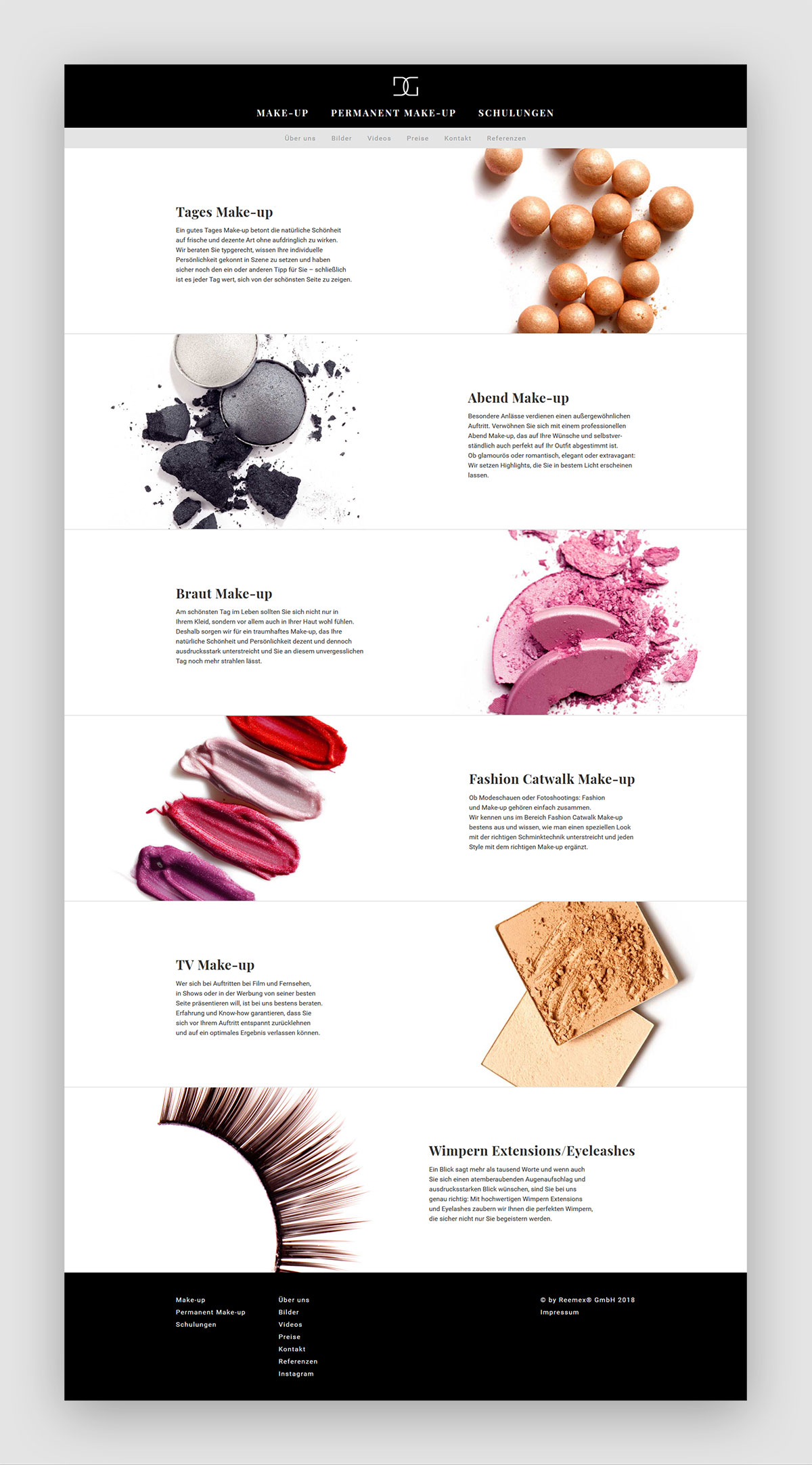 Webdesign Make-Up Page